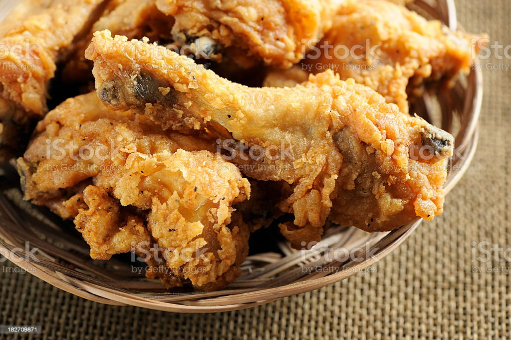 Close-up of a plate filled with fried chicken royalty-free stock photo