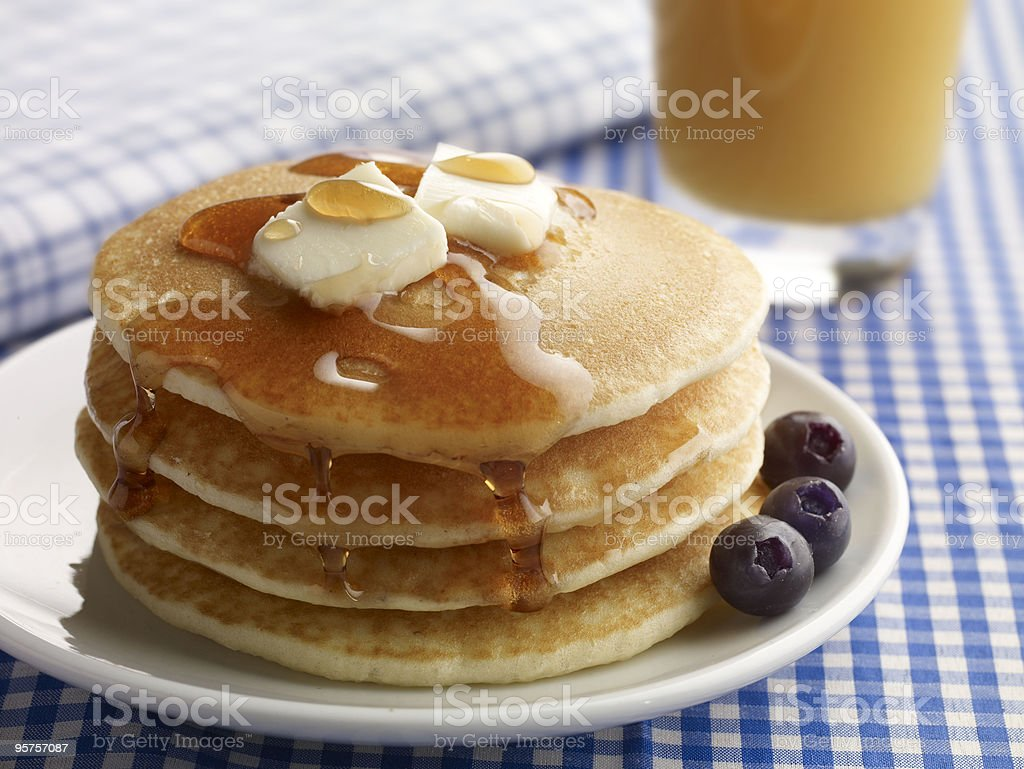 Close-up of a plate of pancakes with butter and syrup stock photo