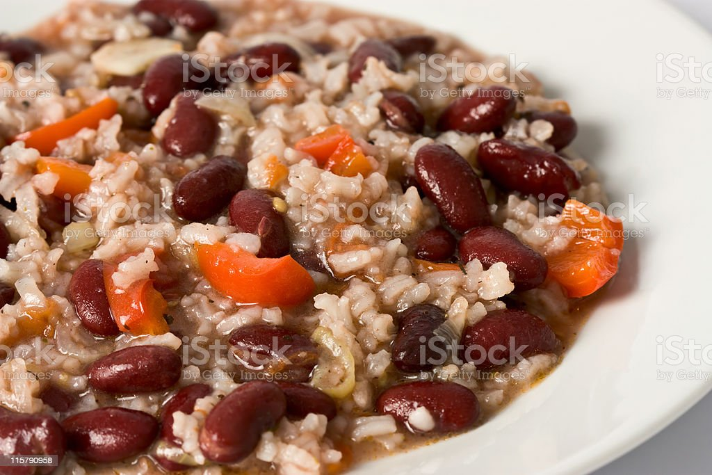 Closeup of a plate of risotto with red beans stock photo