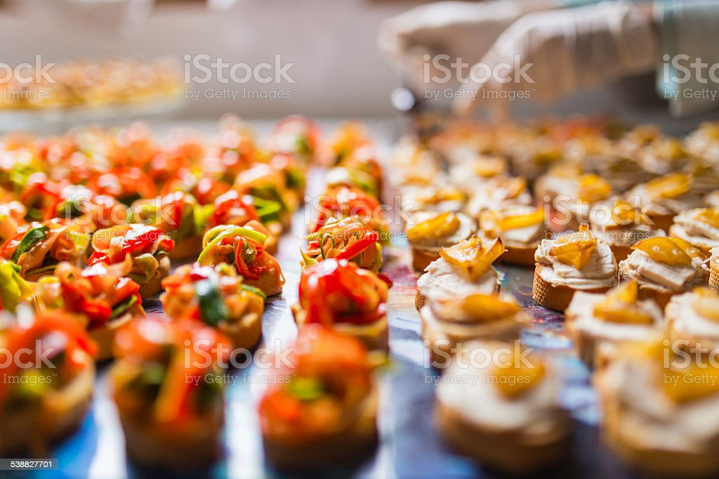 Closeup of a plate with canapes stock photo