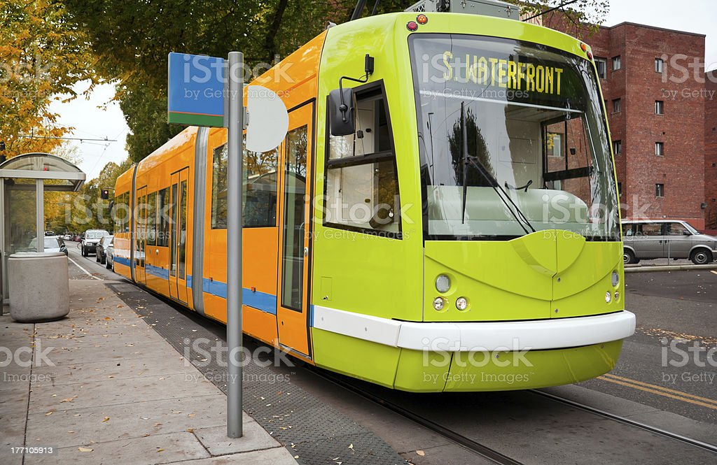 Close-up of a Portland green and orange streetcar royalty-free stock photo