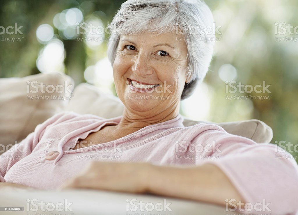 Closeup of a pretty senior woman royalty-free stock photo