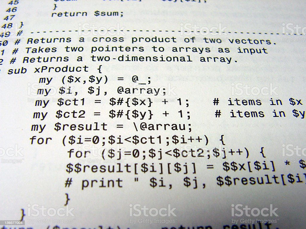 Close-up of a programming code Black on white writing  royalty-free stock photo