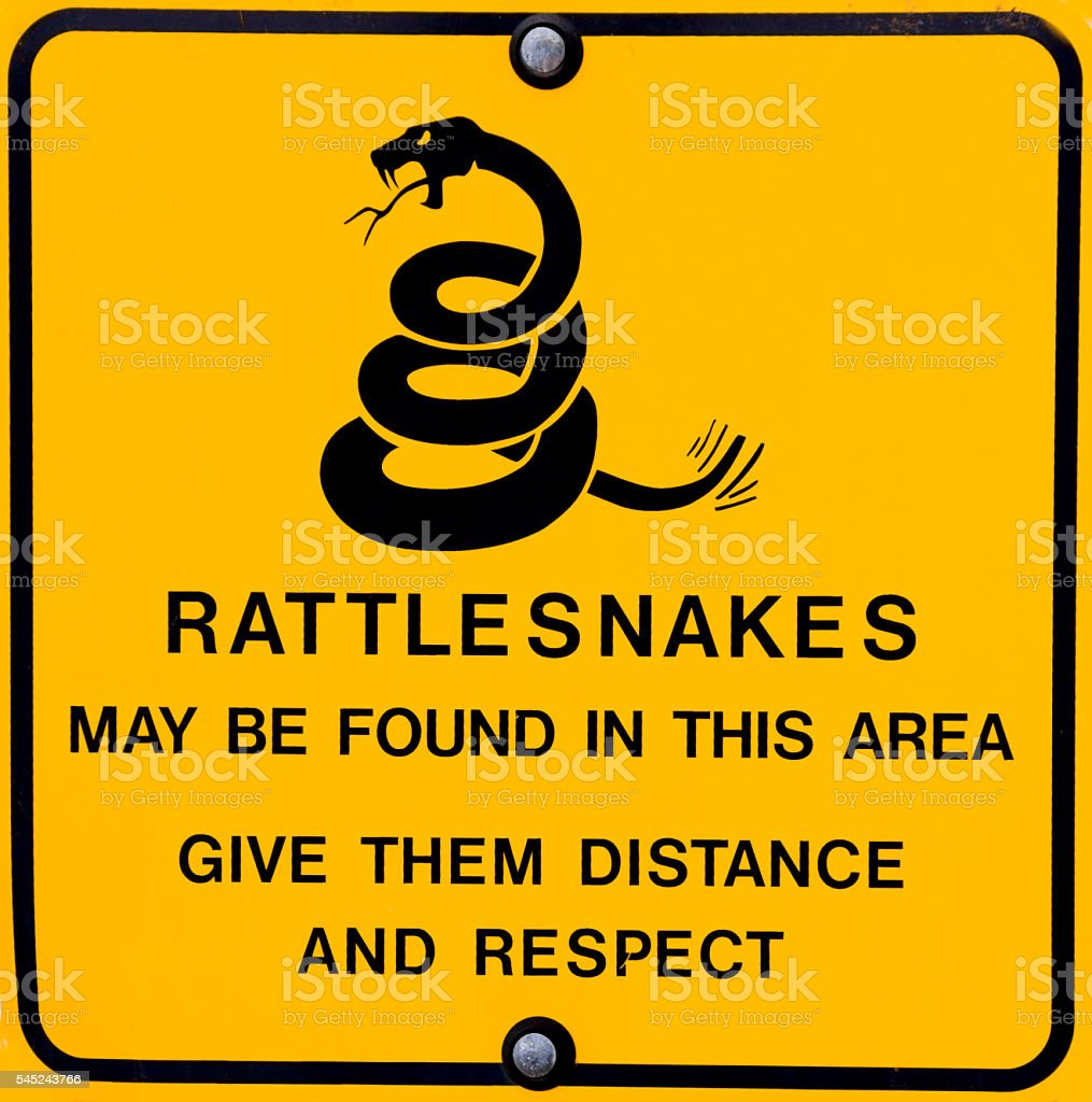 Closeup of a Rattlesnake Warning Sign stock photo