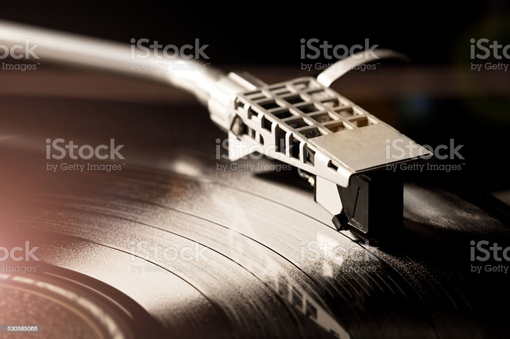 Close-Up Of A Record Player Needle - Vintage Vinyl Player stock photo