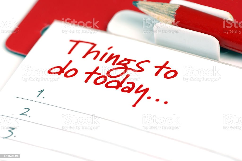 Close-up of a red and white to do list stock photo