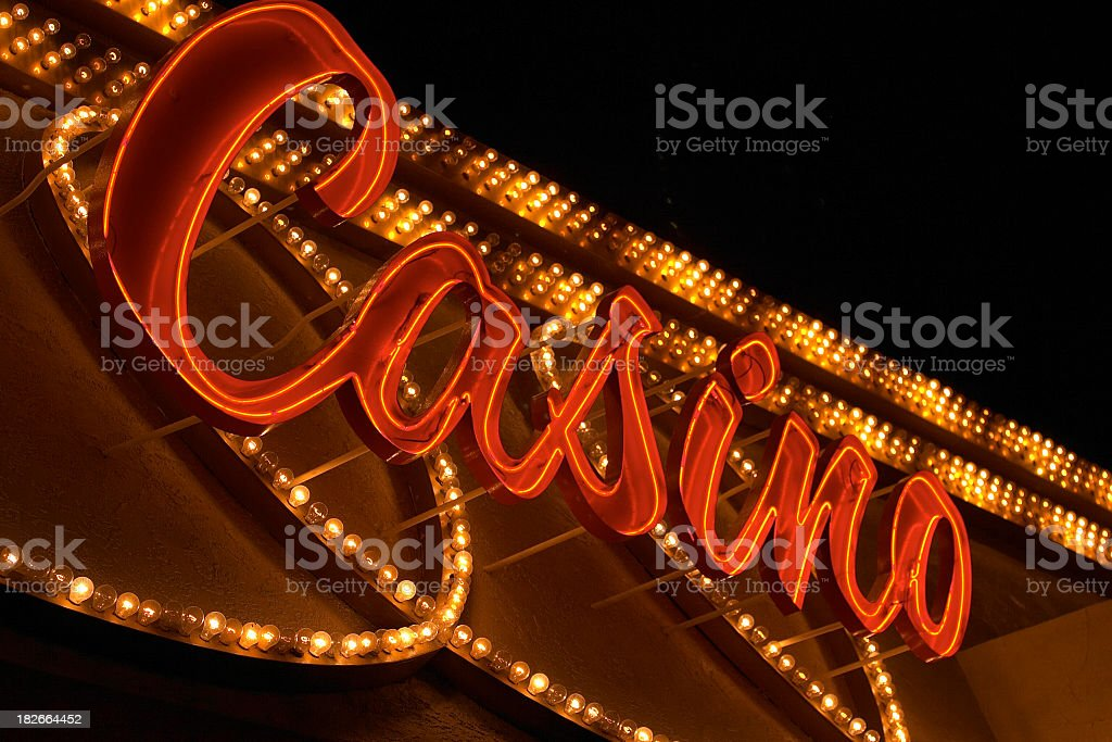 Close-up of a red casino sign that is brightly lit stock photo