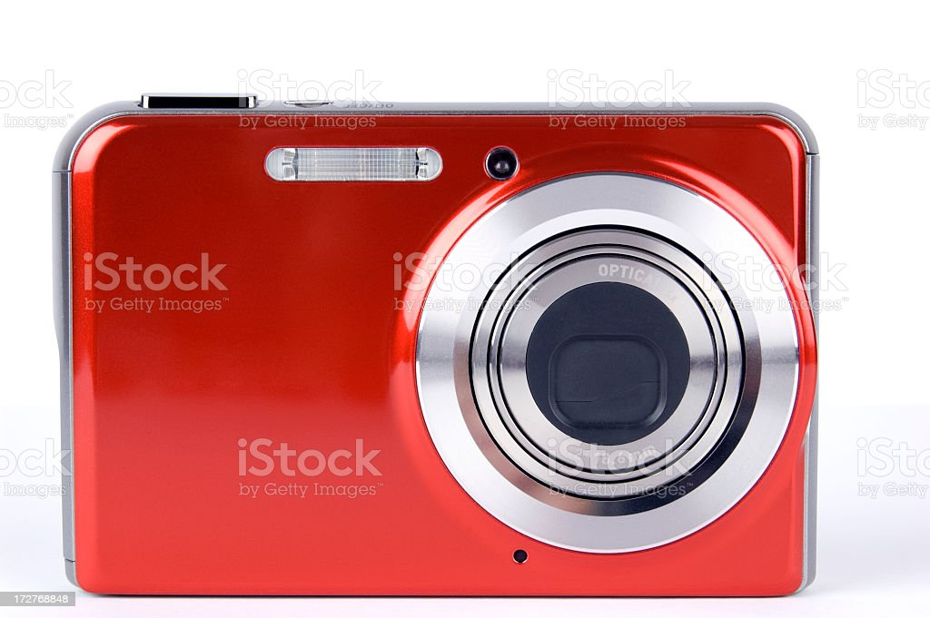 Close-up of a red digital camera on a white background stock photo