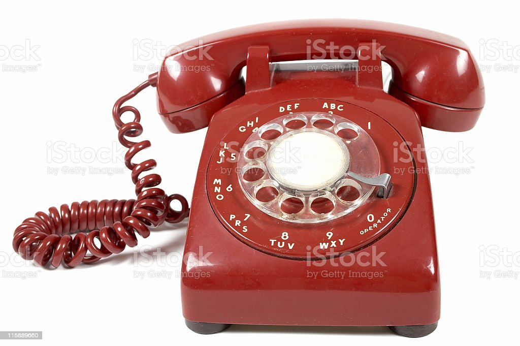 Close-up of a red landline telephone stock photo