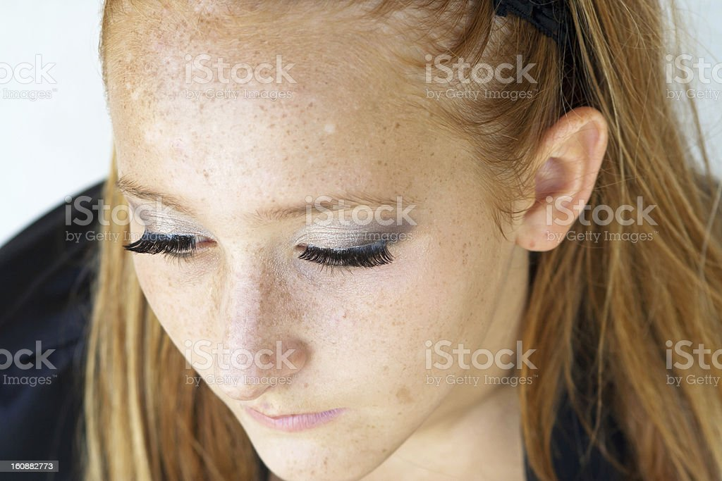 Close-up of a red-haired girl stock photo