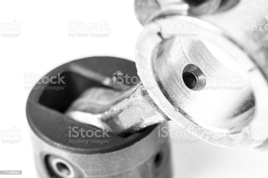 Close-up of a refrigerator compressor engine piston rod royalty-free stock photo
