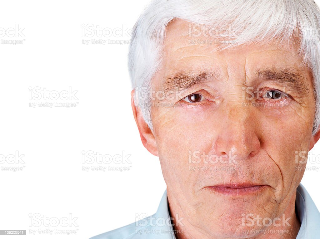 Closeup of a relaxed elderly man against white royalty-free stock photo