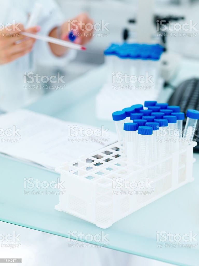 Closeup of a researcher's desk royalty-free stock photo