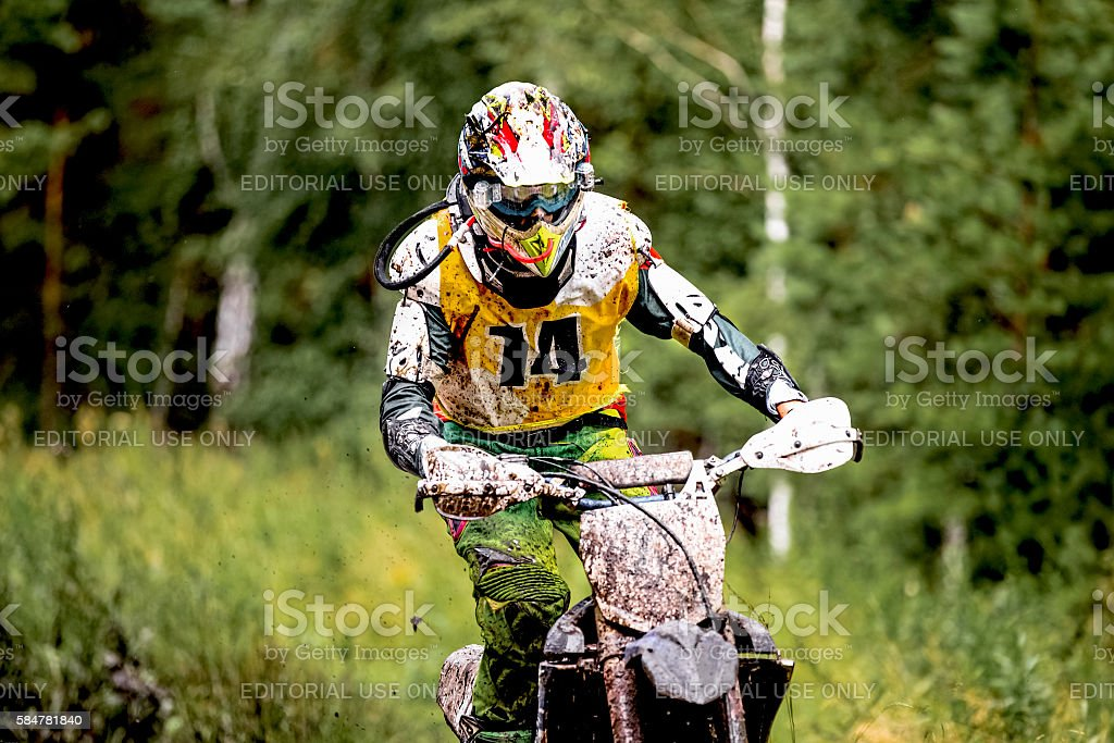 closeup of a rider on a motorcycle royalty-free 스톡 사진