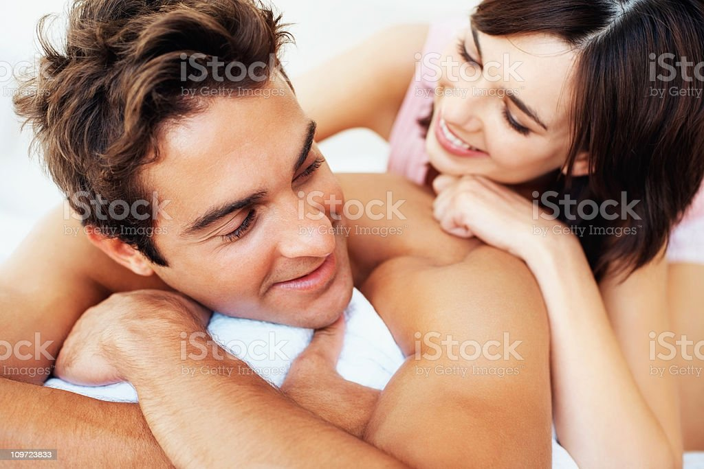 Closeup of a romantic young couple having fun royalty-free stock photo