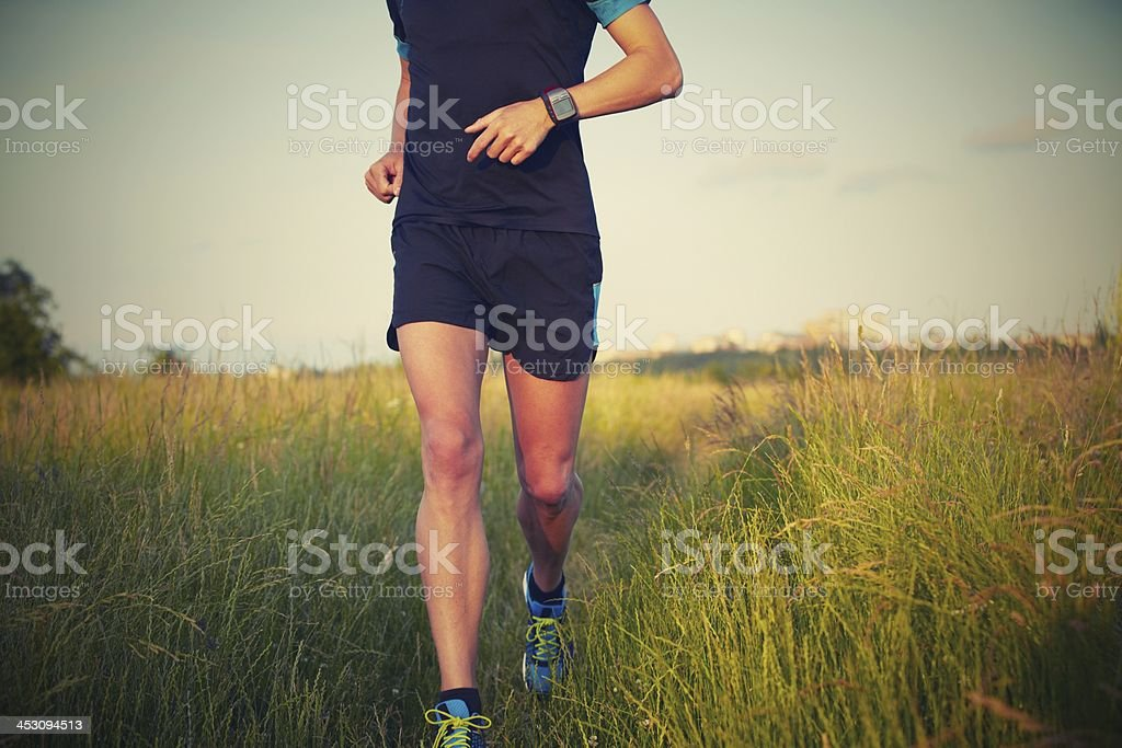 Close-up of a runners legs in a field stock photo