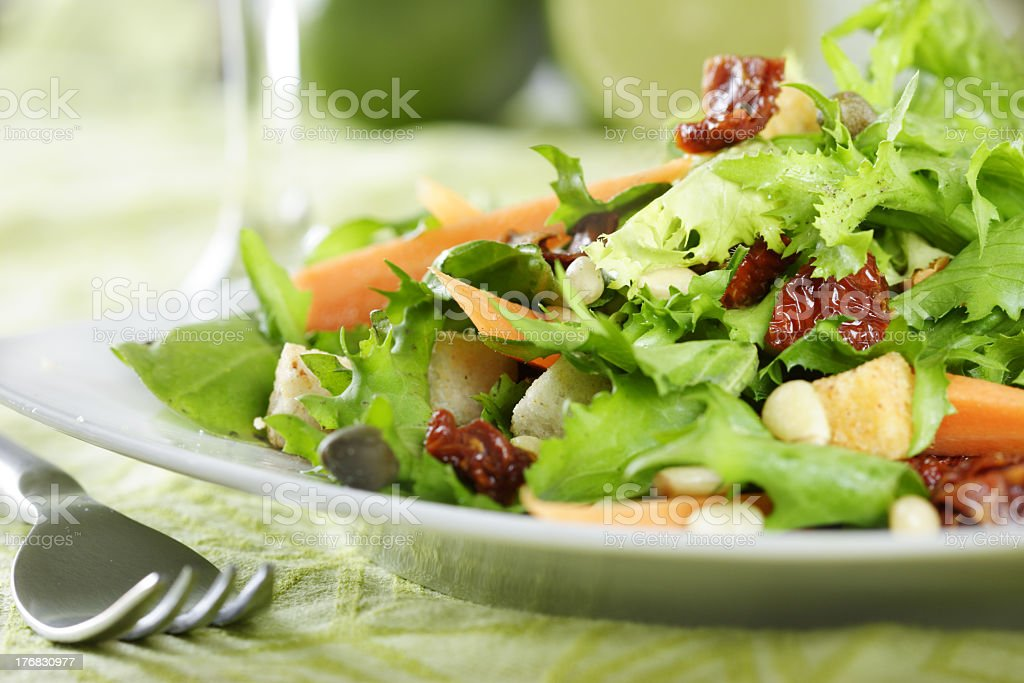 Closeup of a salad on a plate with a fork royalty-free stock photo