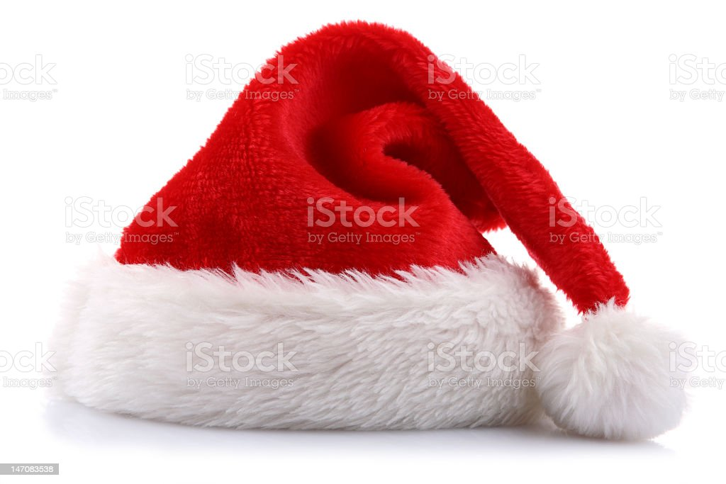 A close-up of a Santa Claus hat stock photo