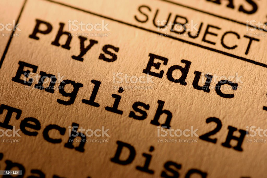 Closeup of a school report card royalty-free stock photo