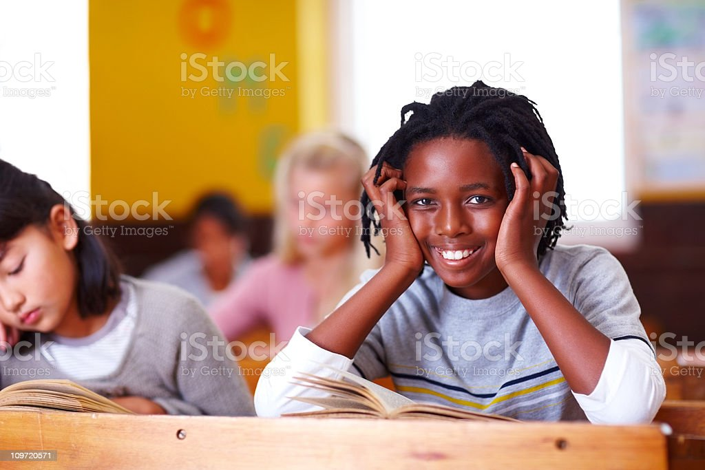 Close-up of a schoolboy smiling royalty-free stock photo