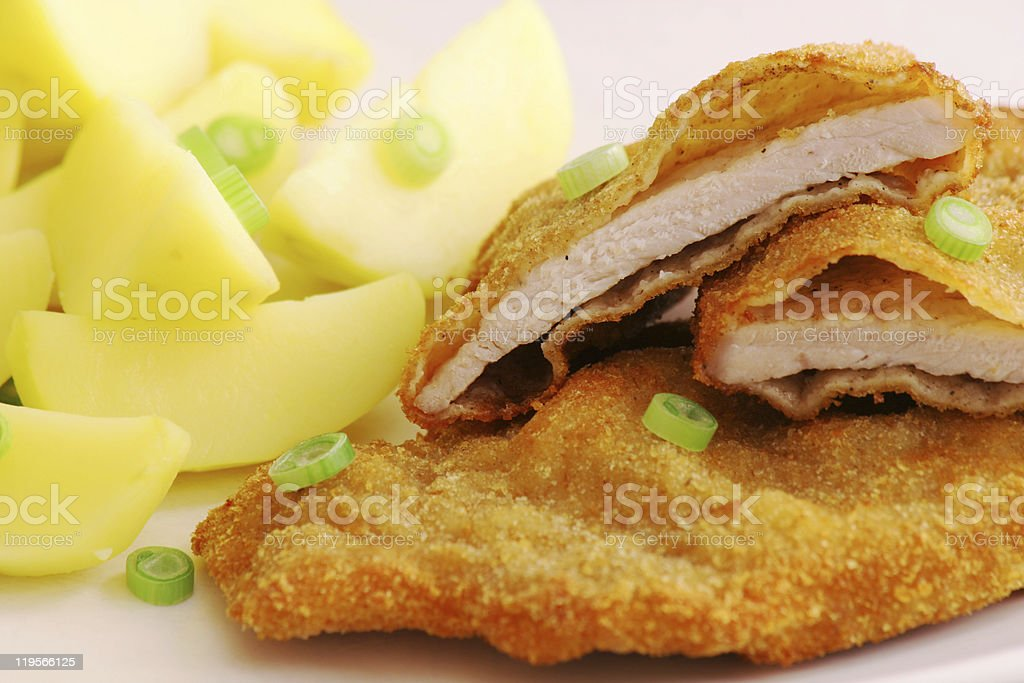 A close-up of a scrumptious Vienna schnitzel royalty-free stock photo