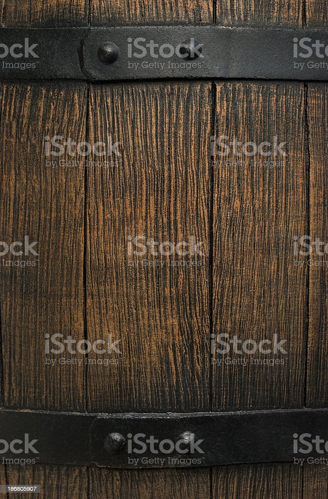 A close-up of a section of an old wooden barrel stock photo