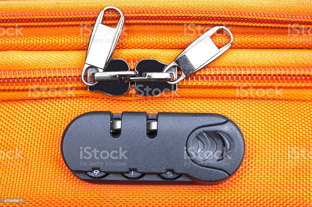Closeup of a security padlock with three numbers stock photo