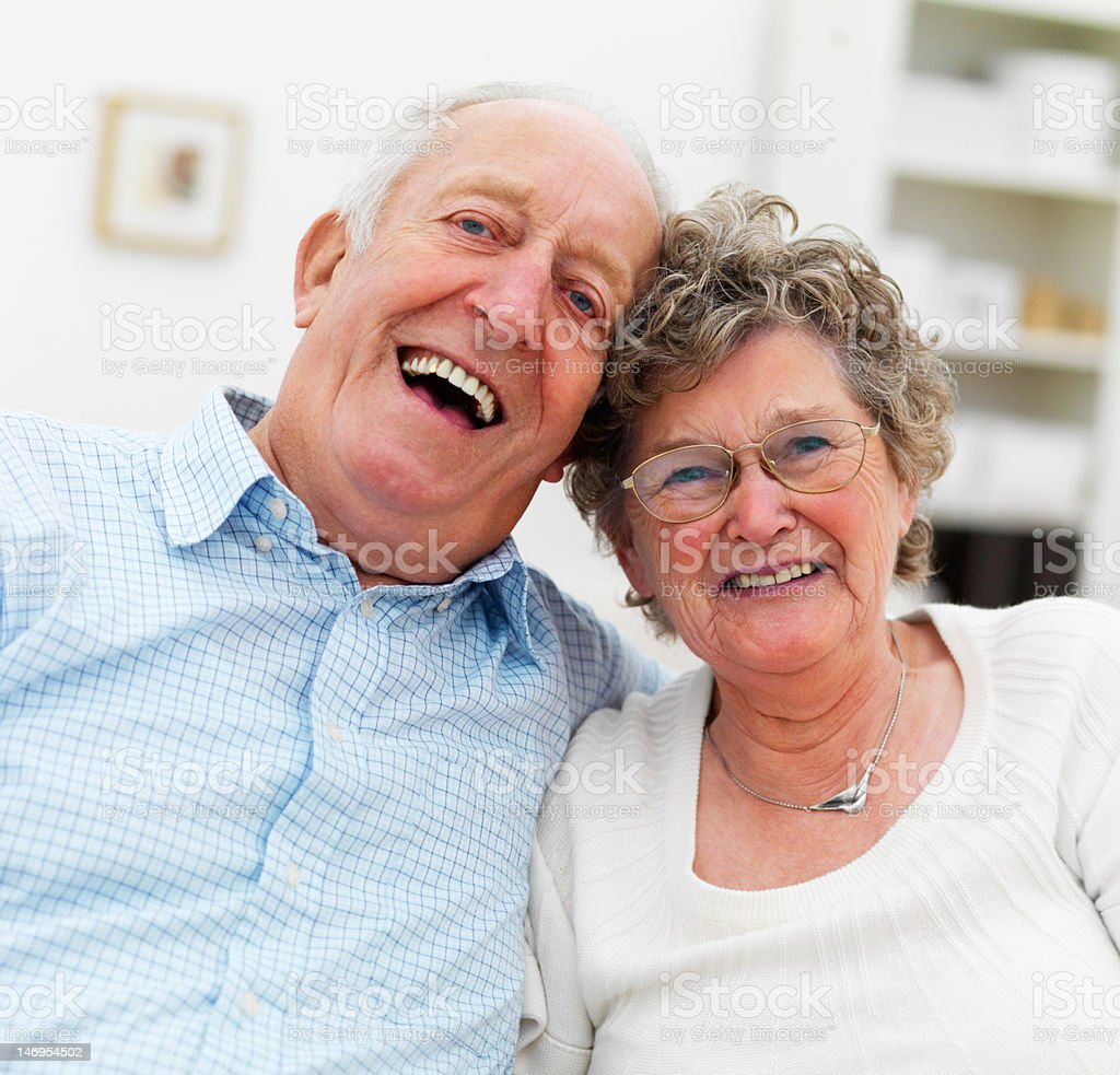 Close-up of a senior couple smiling royalty-free stock photo