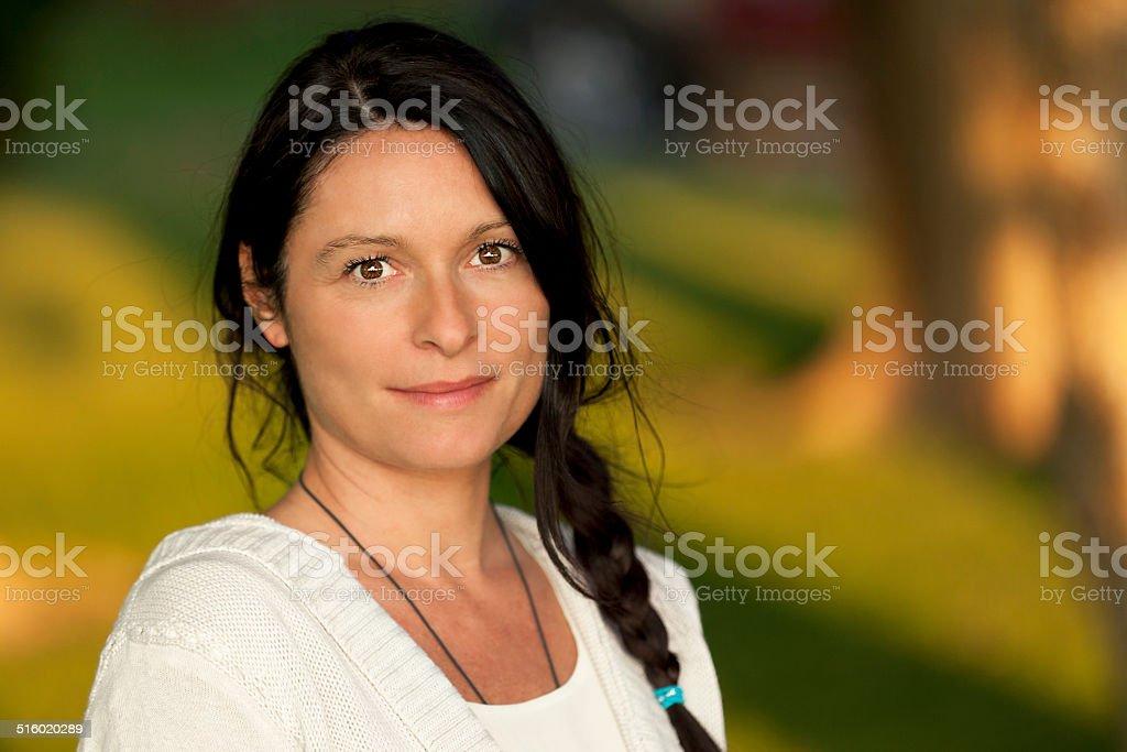 Closeup Of A Serious Mature Woman stock photo