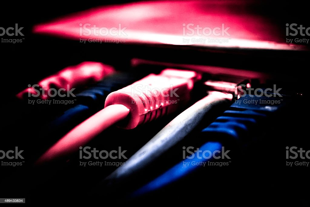 Closeup Of A Server Network Panel stock photo
