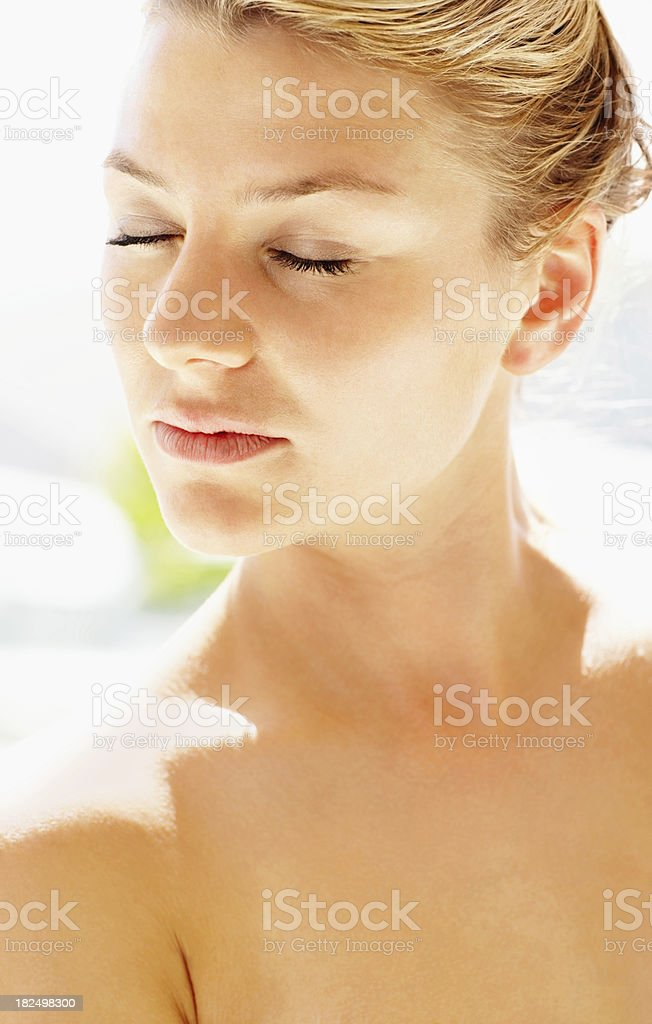 Closeup of a sexy beautiful young female with eyes closed royalty-free stock photo