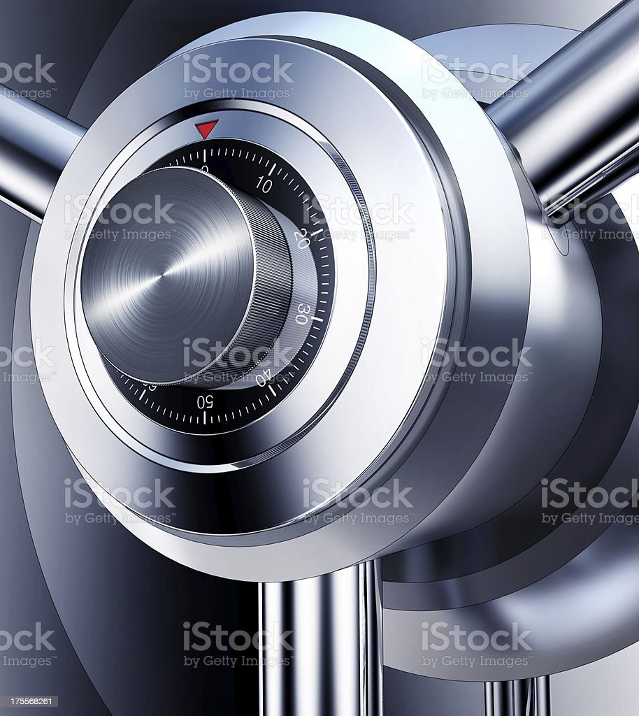 Close-up of a shiny, metal safe combination dial royalty-free stock photo