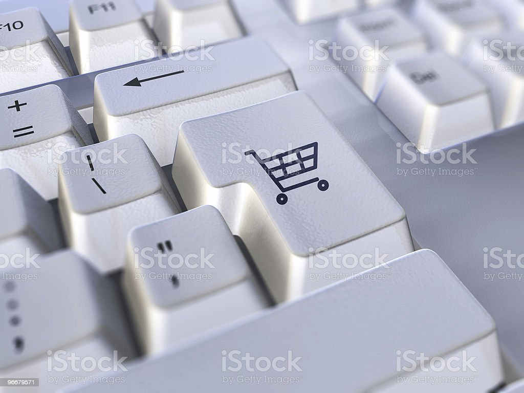 Close-up of a shopping cart key on a keyboard royalty-free stock photo