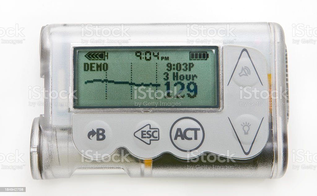 Close-up of a silver insulin pump with readings on screen stock photo