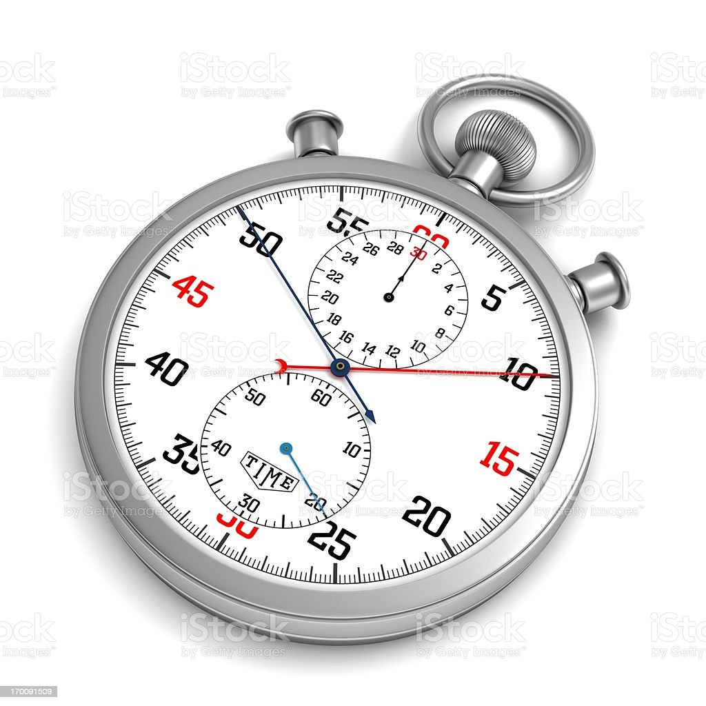 Close-up of a silver stopwatch stock photo