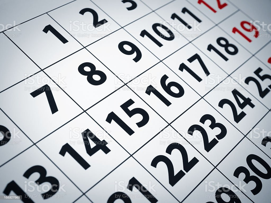 A closeup of a simple monthly calendar royalty-free stock photo