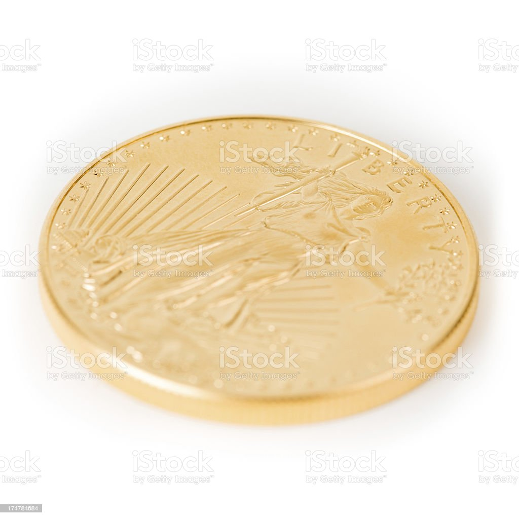 Closeup of a single American Eagle 1 oz Gold Coin stock photo