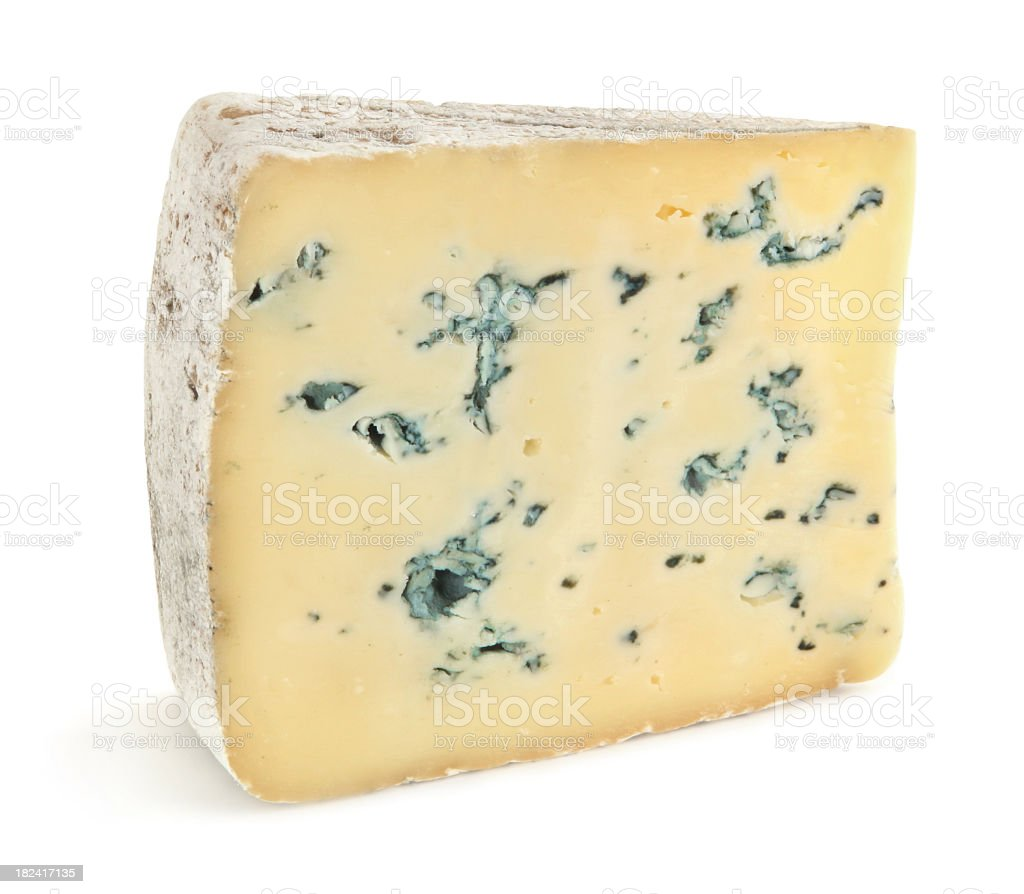 Close-up of a slice of blue cheese on a white background stock photo