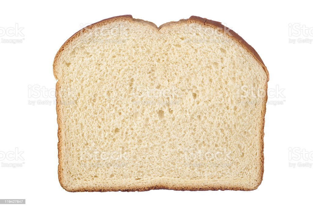 Close-up of a slice of white bread stock photo