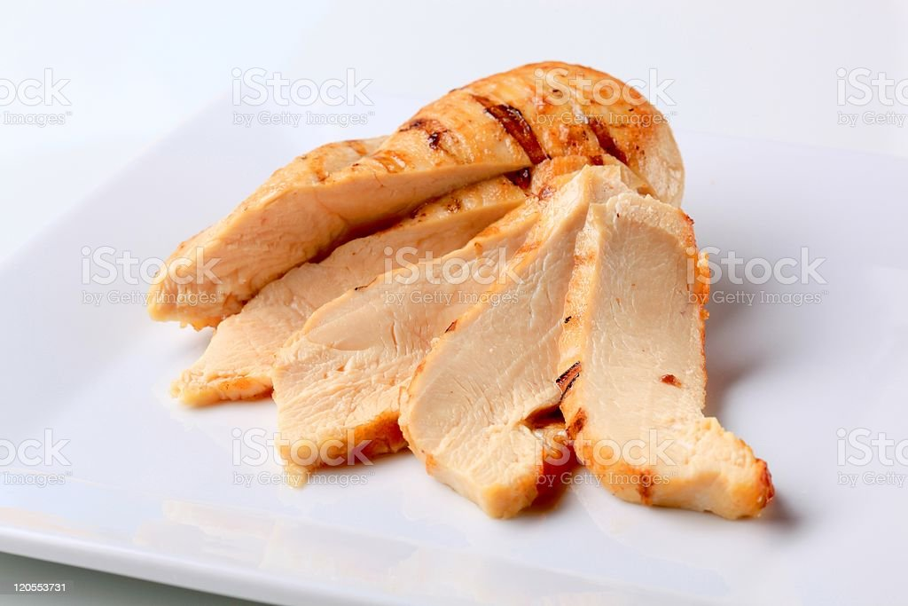 Closeup of a sliced turkey breast on white plate stock photo