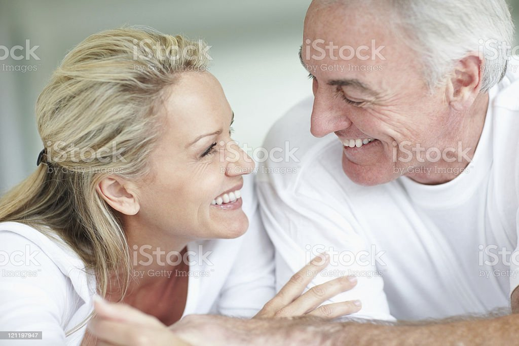 Closeup of a smiling romantic mature couple royalty-free stock photo