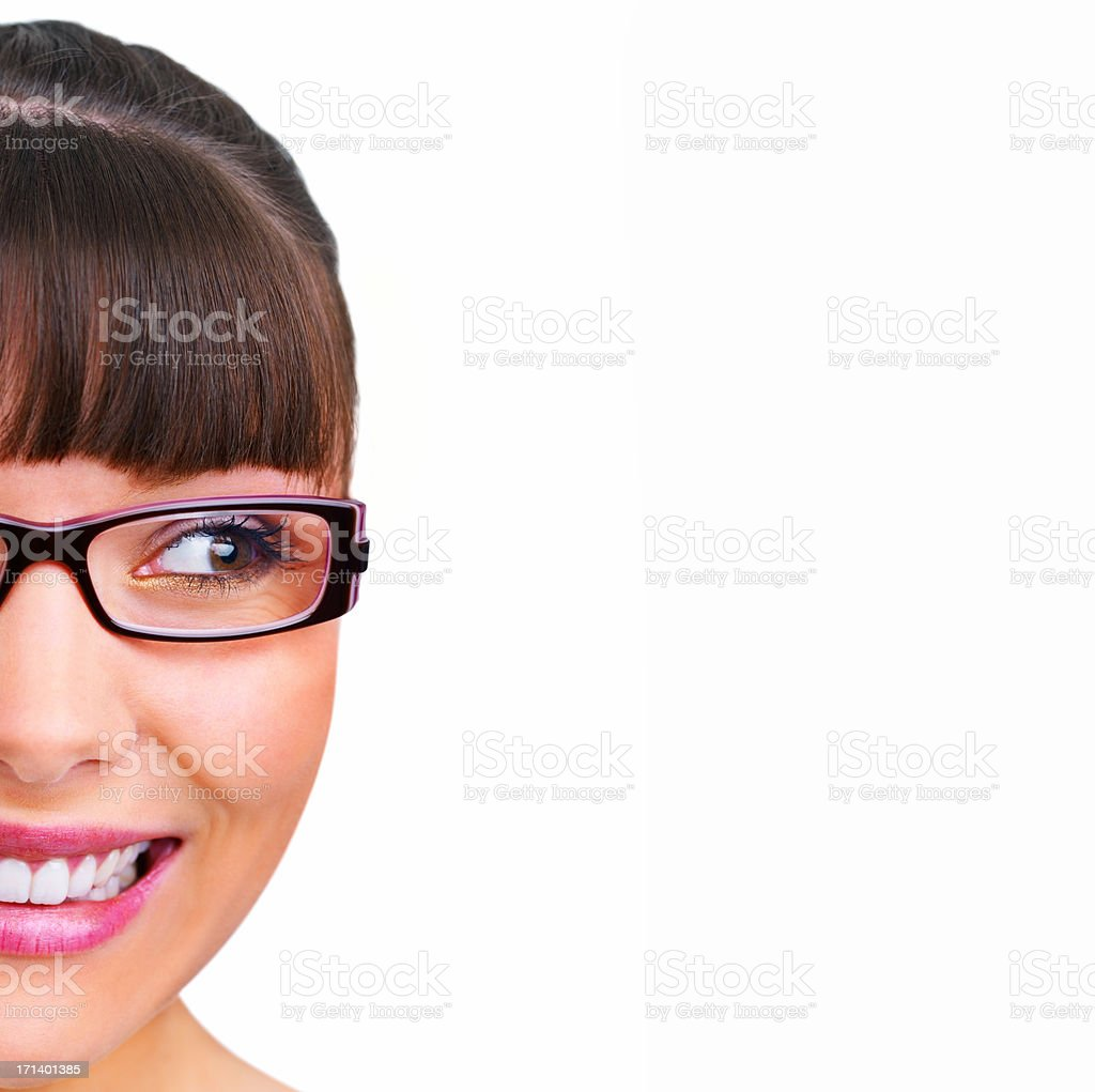 Closeup of a smiling young girl wearing glasses royalty-free stock photo