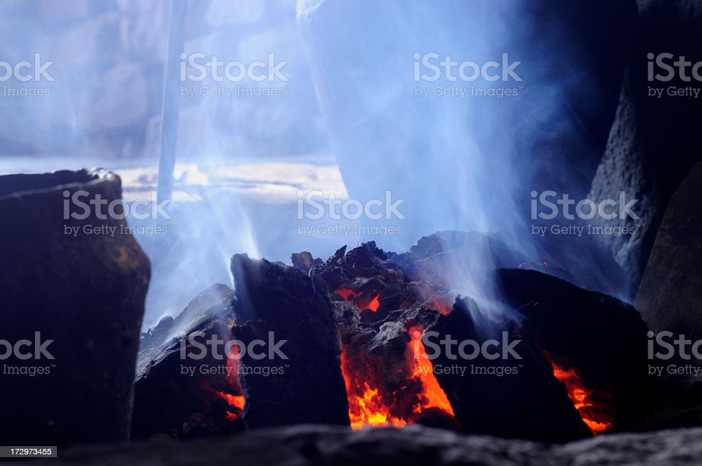 Close-up of a smokey peat fire stock photo