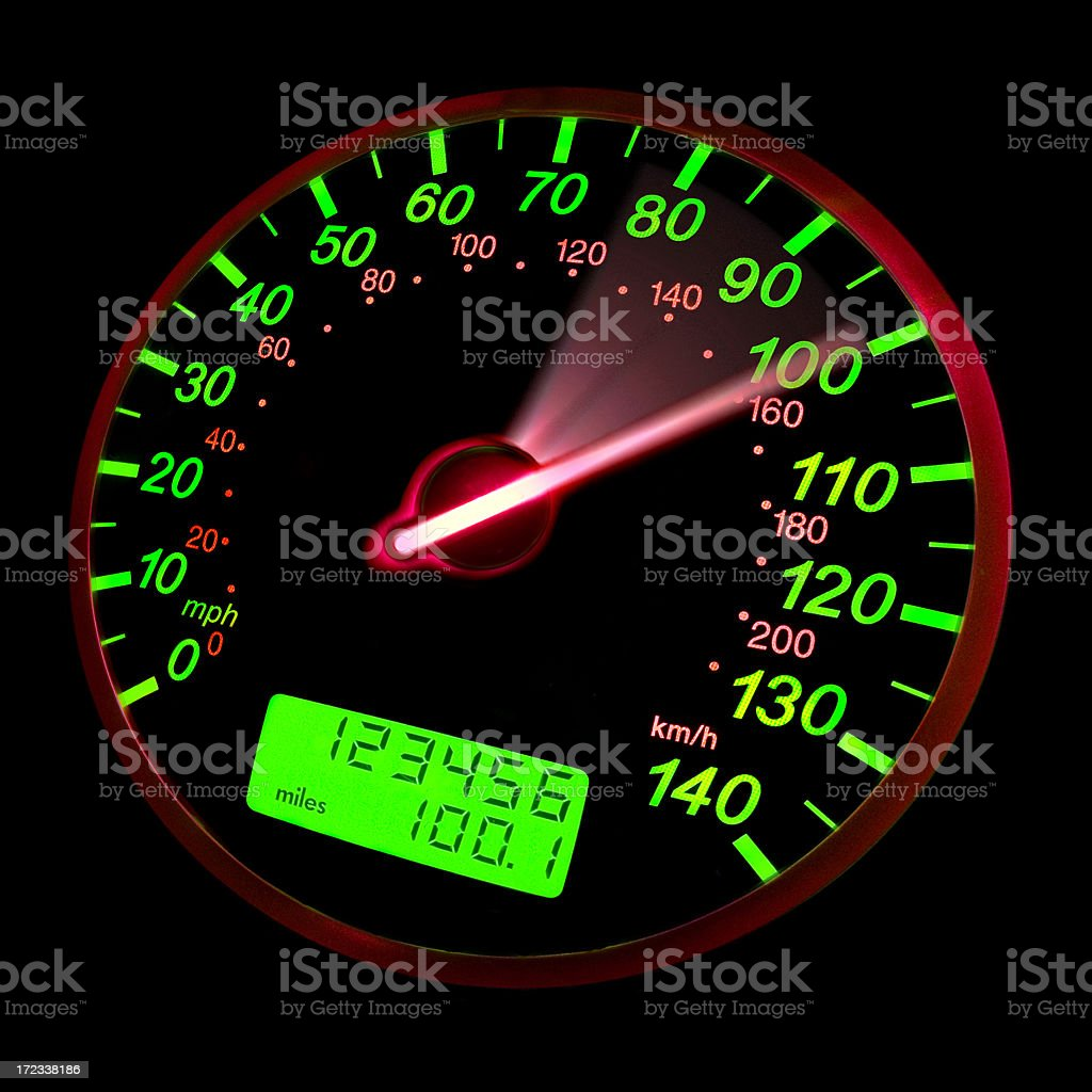 A close-up of a speedometer with green neon lights royalty-free stock photo