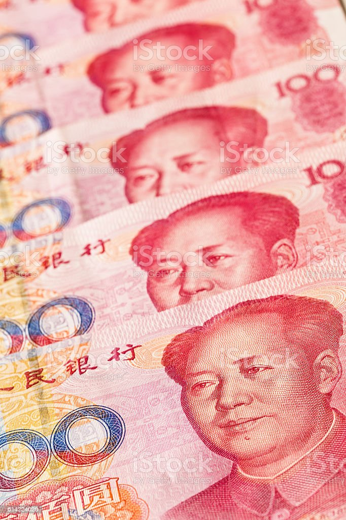 Close-up of a Stack of Chinese Currency, Yuan Notes stock photo