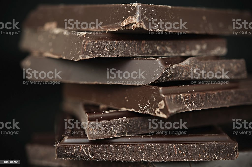 A close-up of a stack of dark chocolate stock photo