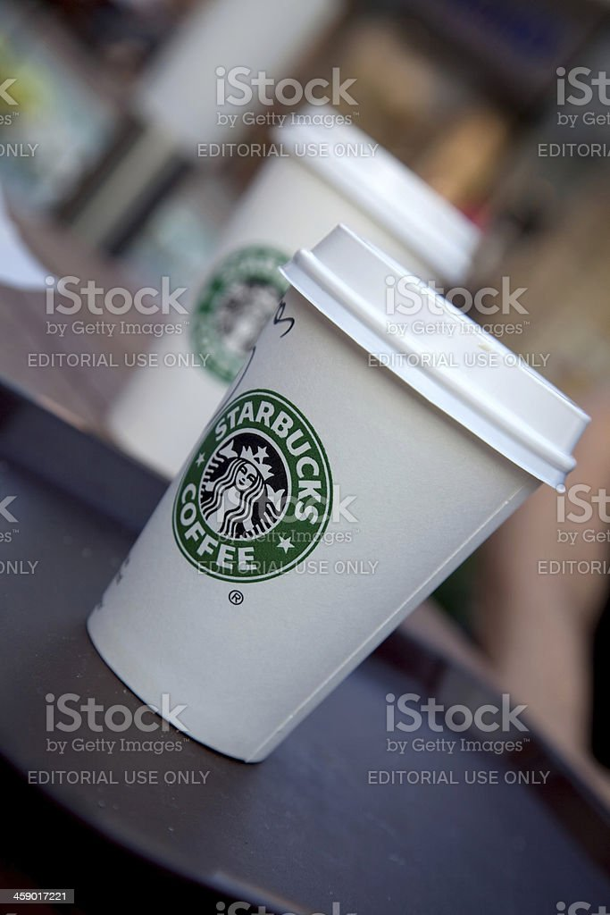 Closeup of a starbucks coffee cup stock photo