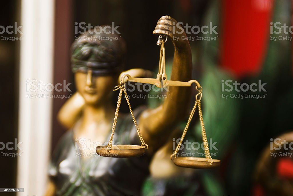 Close-up of a statue of Goddess of Justice stock photo