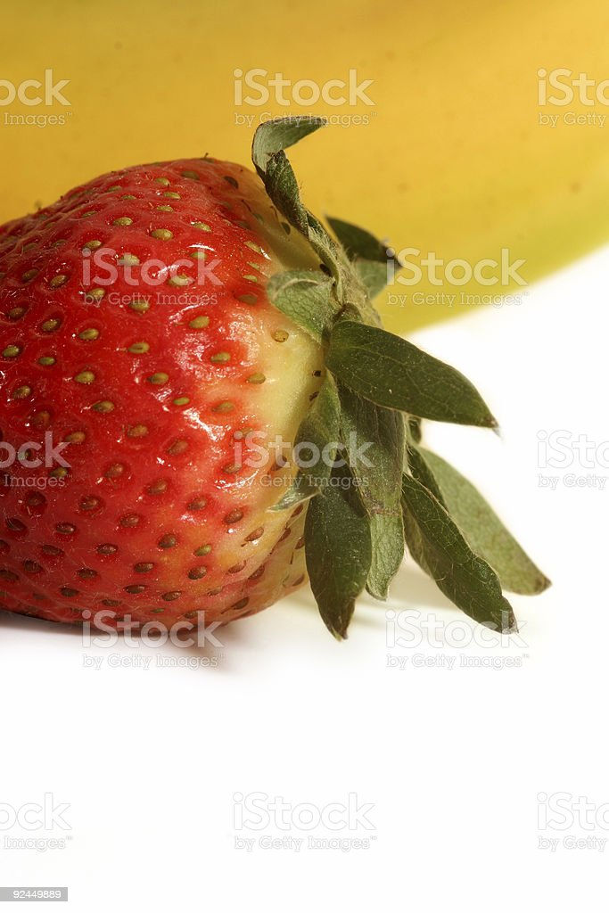 Close-up of a strawberry and banana stock photo
