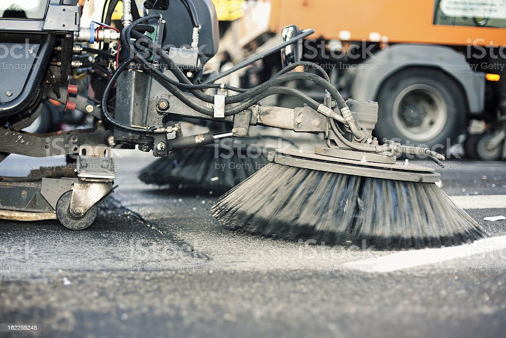 Close-up of a street cleaning truck stock photo
